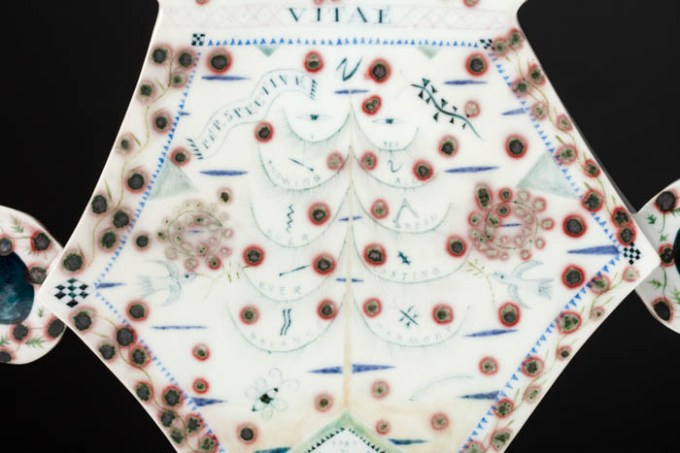 "Mara Superior, ""Pair of Talking Bird Vases"", 1991, 11 x 13 x 4"" (each), high-fired porcelain, ceramic oxides, underglaze, glaze."