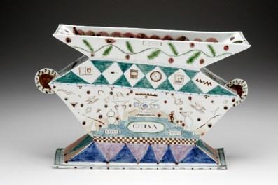 """Mara Superior, """"One Life Story"""", 1991, 12.5 x 22 x 6"""", high-fired porcelain, ceramic oxides, underglaze, glaze."""