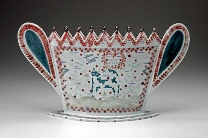 "Mara Superior, ""My Pet"", 1990, 16 x 21 x 7"", high-fired porcelain, ceramic oxides, underglaze, glaze."