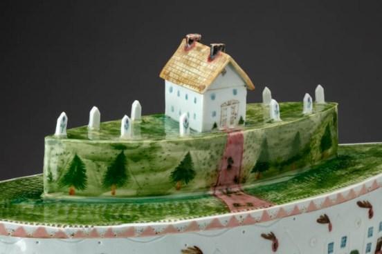 """Mara Superior, """"A Dream Housing Dreaming"""", 1984, 15.25 x 13.25 x 5"""", high-fired porcelain, ceramic oxides, underglaze, glaze."""