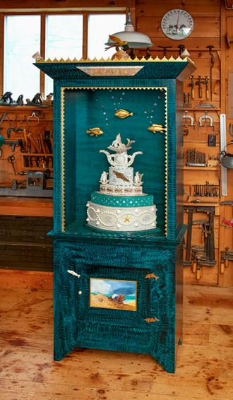 "Roy & Mara Superior, ""Pearls Collaborative Cabinet"", 2008, 84 x 33 x 16"", high-fired porcelain, ceramic oxides, underglaze, glaze, wood, gold leaf, bone, ink, egg tempera, brass pins, mother of pearl, shells. Peabody Essex Museum of Art."