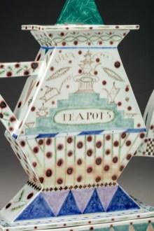 "Mara Superior, ""A Pennsylvania Teapot"", 1987, 21 x 20 x 9"", high-fired porcelain, ceramic oxides, underglaze, glaze."
