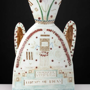 """Land of the Idea"", 1986, 17 x 12 x 4.5"", high-fired porcelain, ceramic oxides, underglaze, glaze."