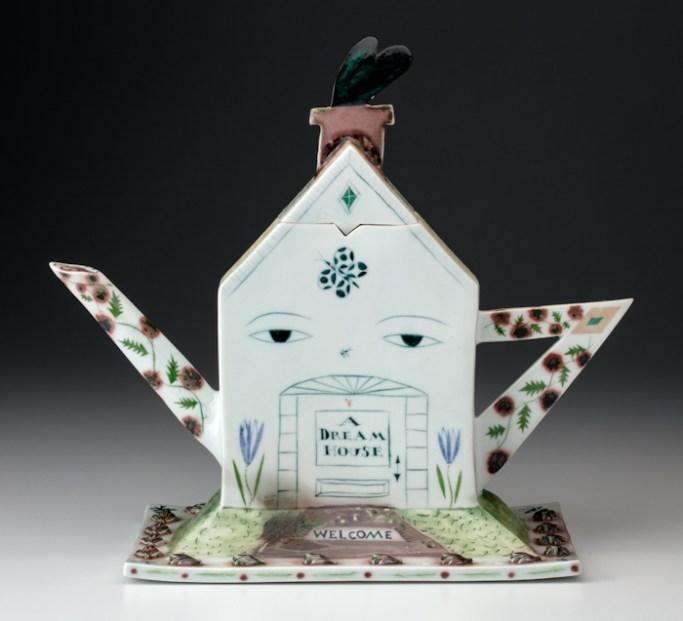 """Mara Superior, """"A Dream House Teapot"""", 1992, 6 x 13 x 7.5"""", high-fired porcelain, ceramic oxides, underglaze, glaze."""
