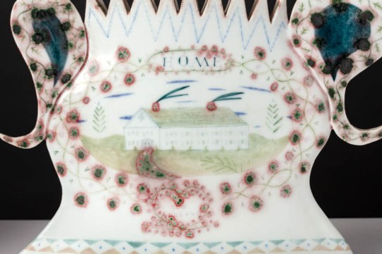 "Mara Superior, ""Vermont Views/ Emerald Homestead"", 1993, 7.25 x 11.75 x 4"" (each), high-fired porcelain, ceramic oxides, underglaze, glaze."