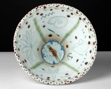"Mara Superior, ""Aqua Vita/ A Trout"", 1992, 13 x 12 x 12"", high-fired porcelain, ceramic oxides, underglaze, glaze."