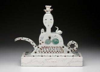 "Mara Superior, ""La Femme"", 1998, 17.5 x 19 x 7"", high-fired porcelain, ceramic oxides, underglaze, glaze."