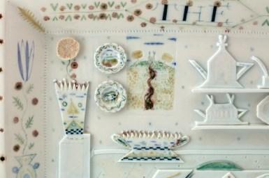 "Mara Superior, ""The Studio"", 1984, 12 x 15.5 x 2"", high-fired porcelain, ceramic oxides, underglaze, glaze."