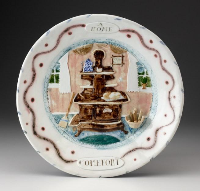"""Mara Superior, """"A Home Comfort"""", 1982, 12 x 12 x 1.5"""", high-fired porcelain, ceramic oxides, underglaze, glaze."""