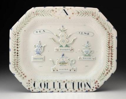 "Mara Superior, ""A Tea Party Platter"", 1987, 12.5 x 15.75 x .75"", high-fired porcelain, ceramic oxides, underglaze, glaze."