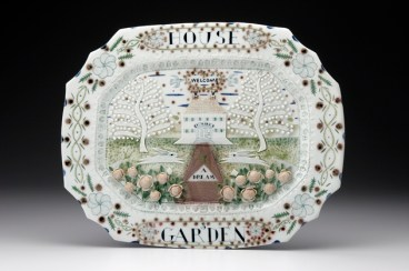 "Mara Superior, ""House & Garden"", 1998, 15 x 18 x 3"", high-fired porcelain, ceramic oxides, underglaze, glaze."