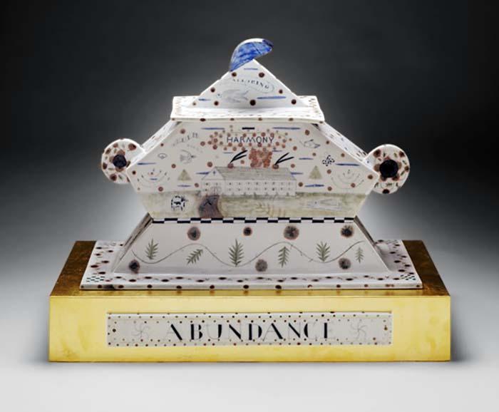 "Mara Superior, ""Abundance (Tureen)"", 1996, 21 x 20.5 x 10"", high-fired porcelain, ceramic oxides, underglaze, glaze. Los Angeles County Museum of Art, Gift of Melinda M. Sullivan and Paul R. C. Sullivan (AC1999.77.1.1-.3)"