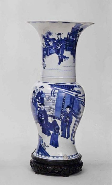 "Probably Chinese, Dynasty (1644-1912), Kangxi Period, 1662-1722, ""Vase"", c. 1700, porcelain with underglaze decoration, 19.75 x 9.25 x 9.25"", The Frick Pittsburgh, 1970.2."