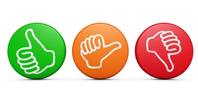 Positive medium and negative customer satisfaction feedback rating and survey buttons with thumb up and down icon on white background.