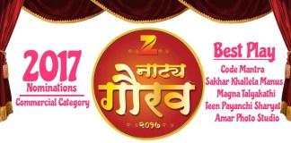Zee Natya Gaurav 2017 'Commercial Category' Nominations List