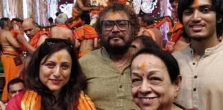 Kishori Shahane at GSB Ganapati With Family husband son Jadubai Jorat
