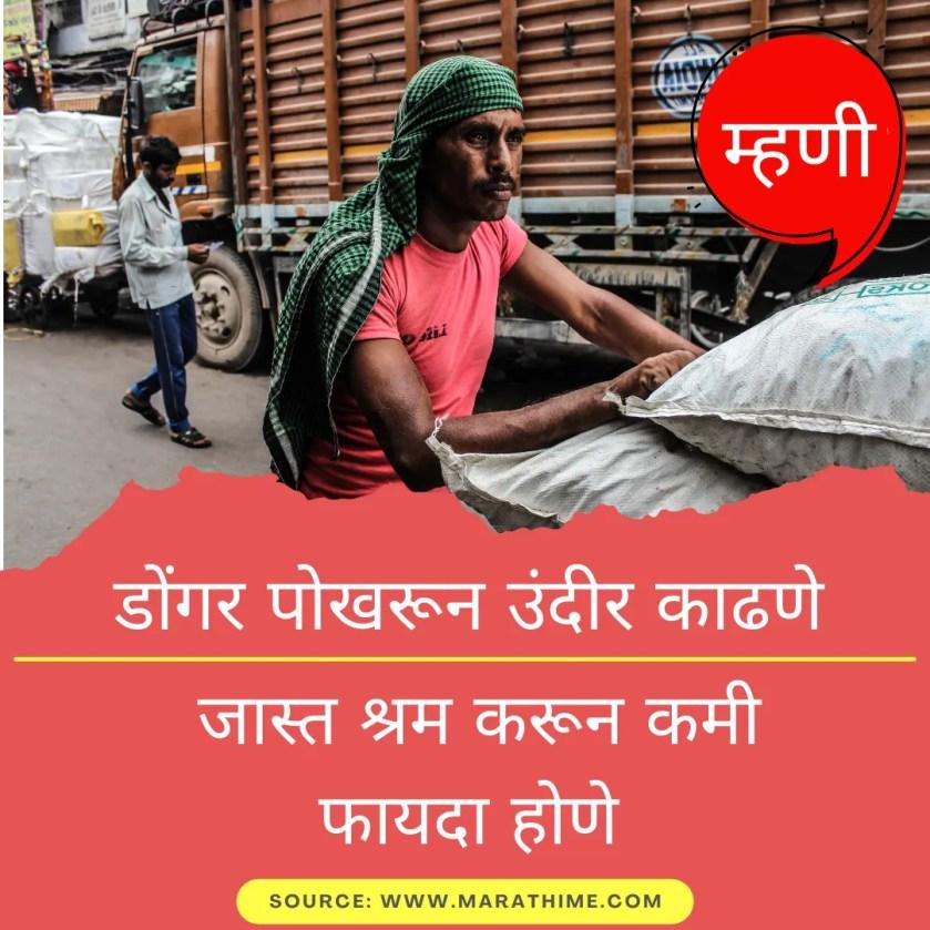 डोंगर पोखरून उंदीर काढणे - जास्त श्रम करून कमी फायदा होणे - Marathi Mhani Images