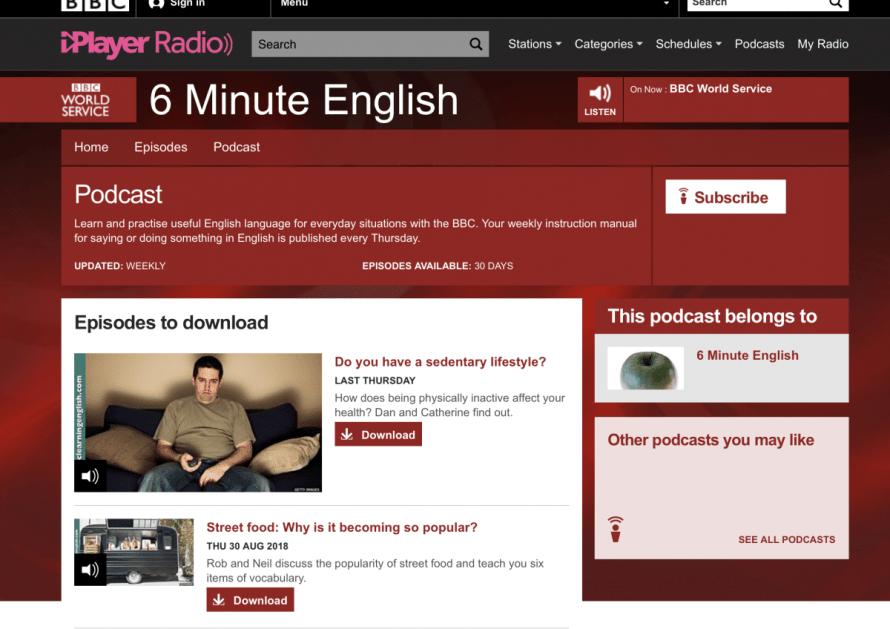 podcasts anglais