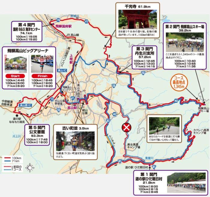 飛騨高山ウルトラマラソン コース