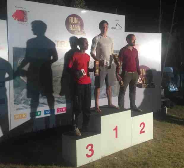 Obligatory Podium Photo, Surinder the marathon champ, little me, and James Tinker (Mr Outdoors USA)