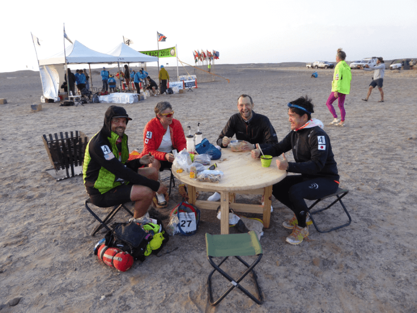 Friends together - Rick (who lost his bag and all equipment, broke a tooth, had to sleep outside, then got heat exhaustion), Cynthia Fish, Phil Rodd and Hiro (Nakata Hiroshi)