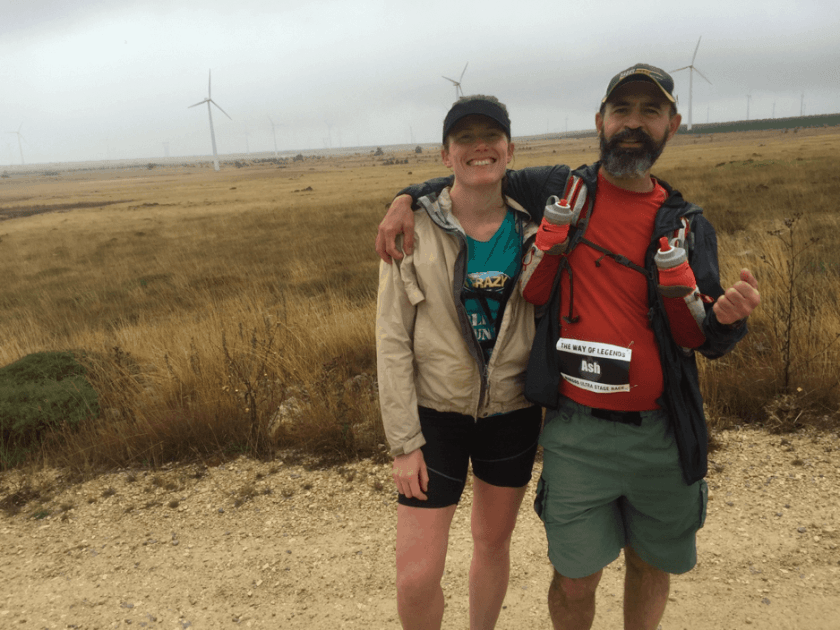 Helen Mearns and Ash Mokhtari at the end of the windfarm