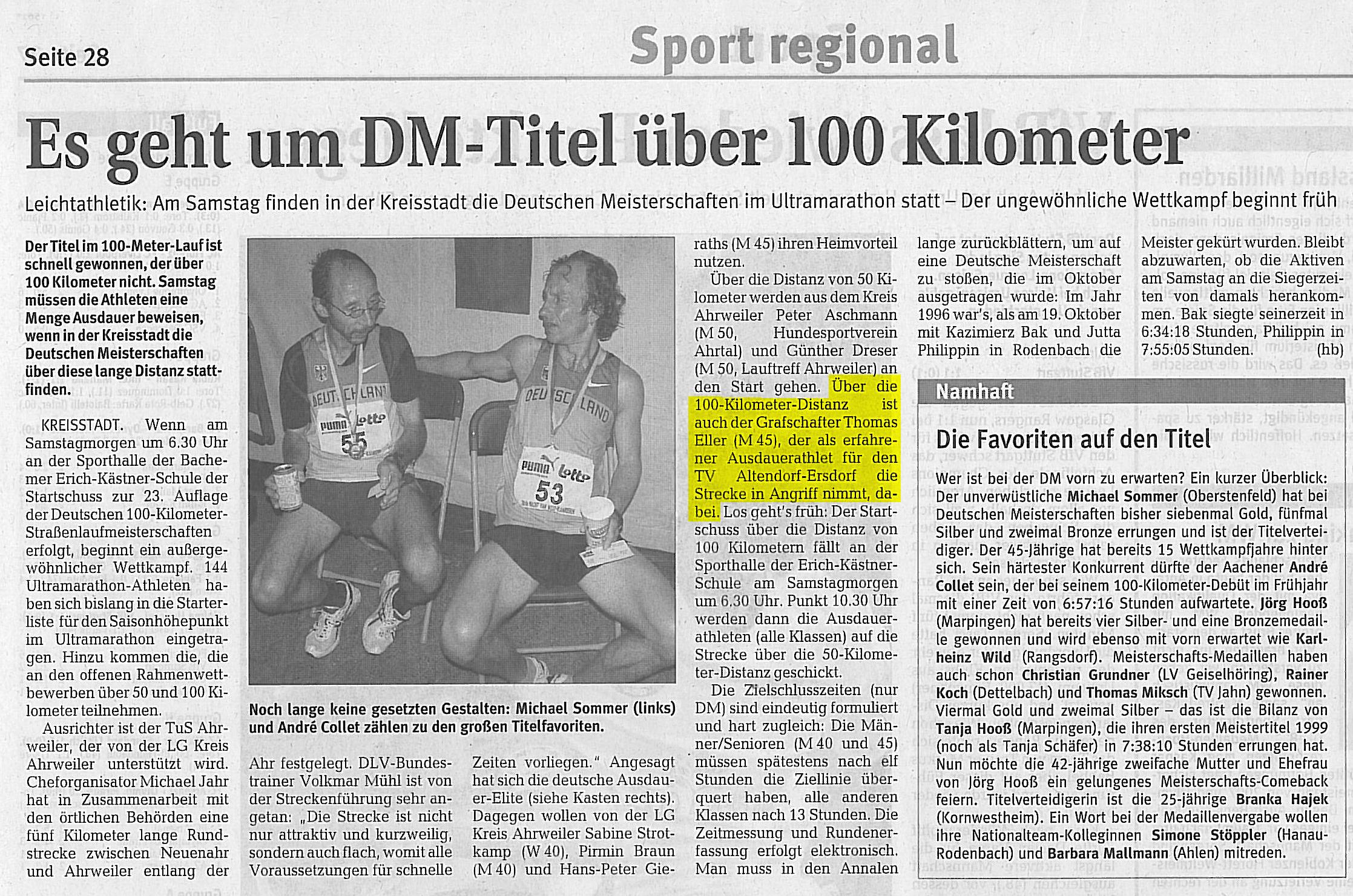 Deutsche Meisterschaft im 100km-Staßenlauf in Bad Neuenahr-Ahrweiler
