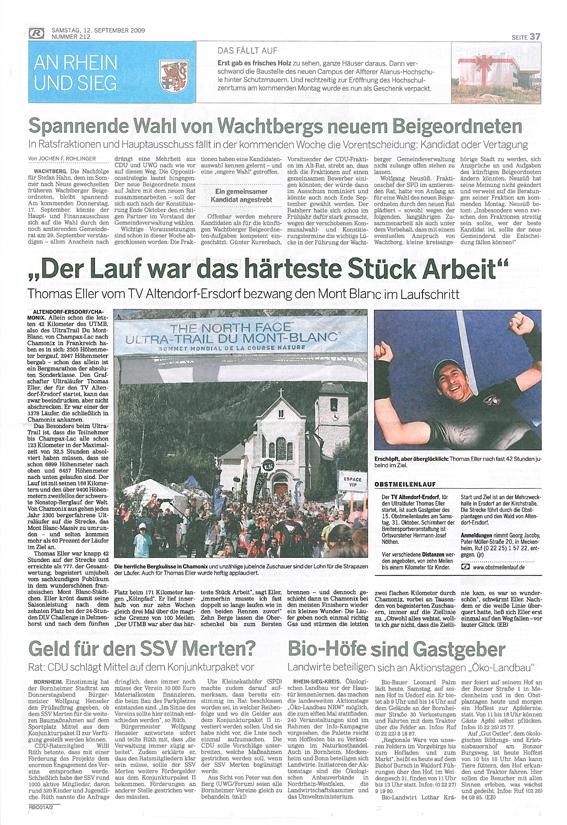 Seite 37 der Bonner Rundschau vom 12. 09. '09 (Vergrößern durch klicken!)
