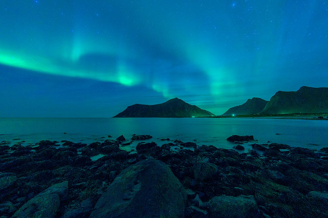 Lofoten, Aurora on The Skagsanden Beach