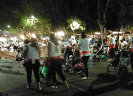 followed by mothers pushing the prams barefoot behind them in case one of the tiny net holders got tired!