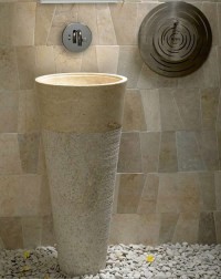 Free Standing Pedestal Sink Cream Marble Bathroom 90 cm x