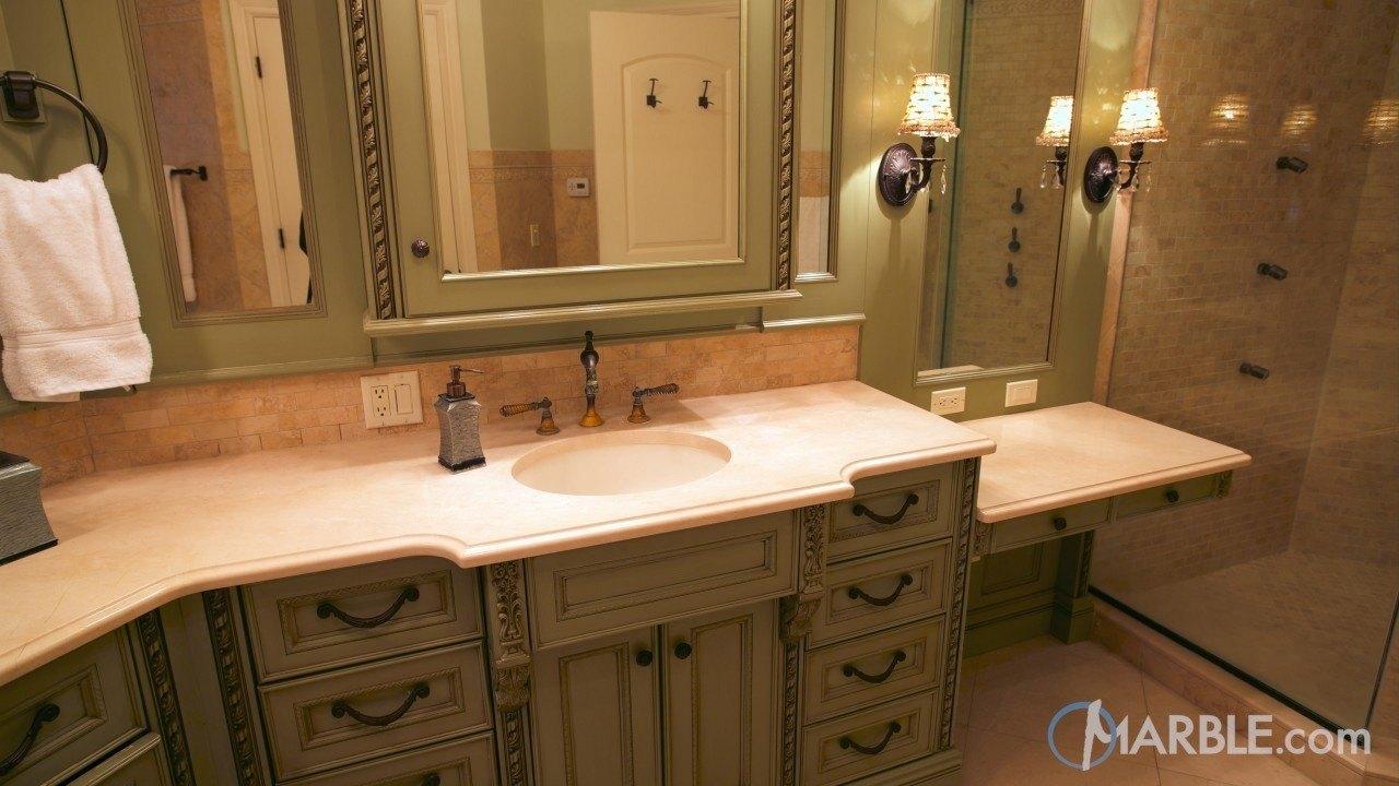 Crema Marfil Marble Master Bathroom Countertop