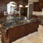 Cosmic Black Granite Kitchen Countertops With A Multi Layer Marble Com