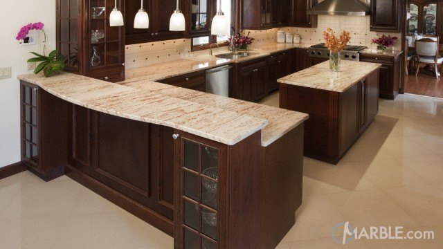 pink countertops kitchen gray tile floor shivakashi granite