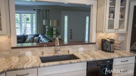 kitchen marble fantasy brown countertop quartzite countertops granite straight edge cabinets kitchens backsplash pass through flooring