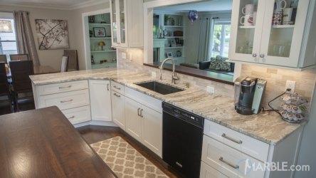 fantasy brown kitchen quartzite marble countertop straight countertops granite edge kitchens counter gray cabinets floors