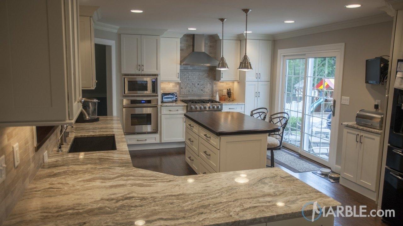 used kitchen cabinets nj slide out organizers fantasy brown quartzite countertop w/ straight edge.
