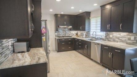 cabinets brown fantasy kitchen dark counter quartzite marble kitchens