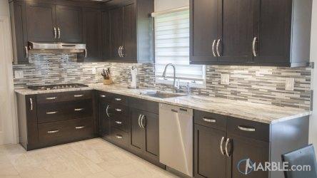 marble brown cabinets fantasy kitchen dark quartzite counter kitchens