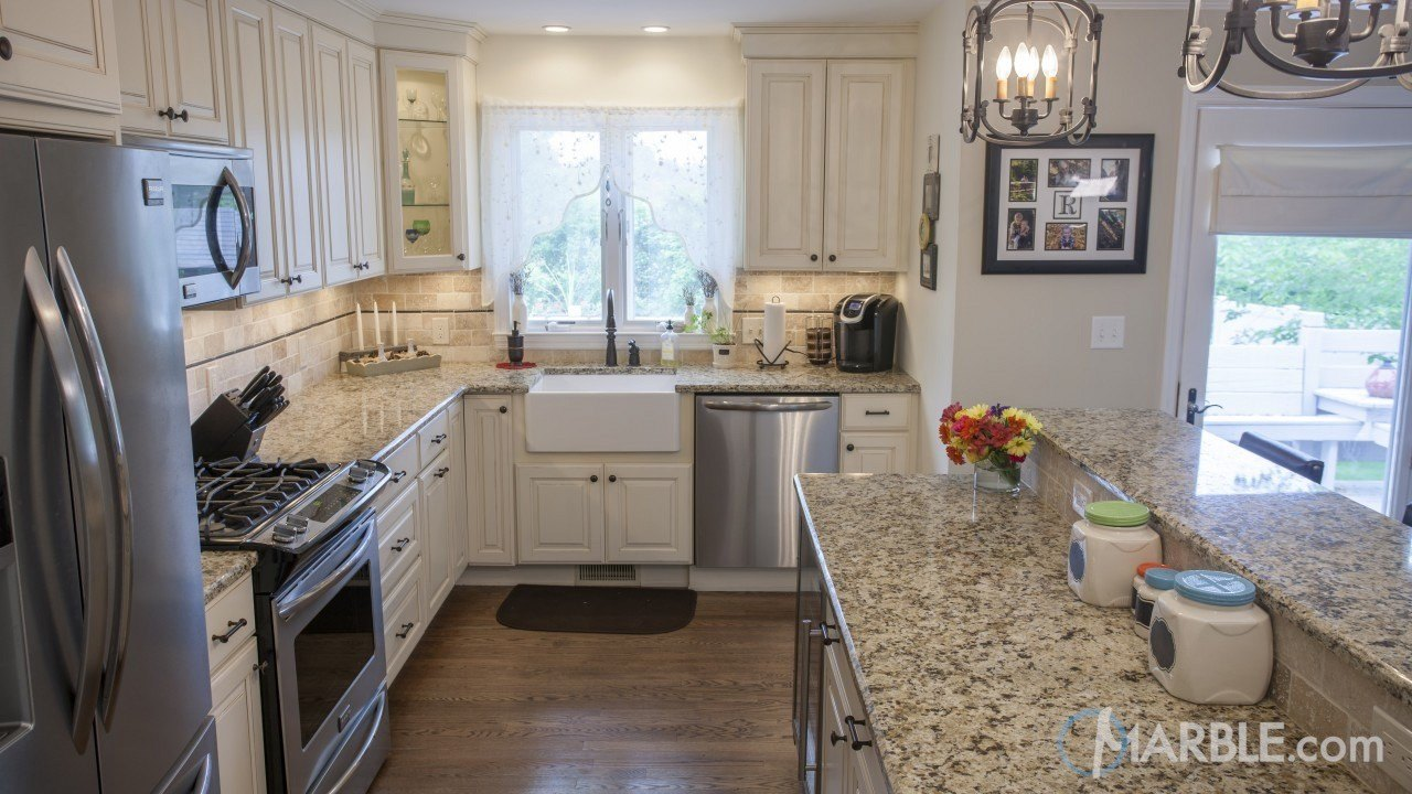 order kitchen cabinets online small island bar giallo napole granite countertop with a dual layer.