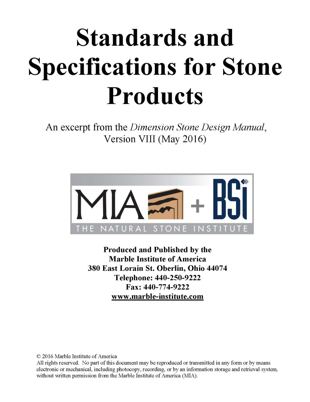 MIA + BSI STANDAR AND SPECIFICATIONS STONE PRODUCTS