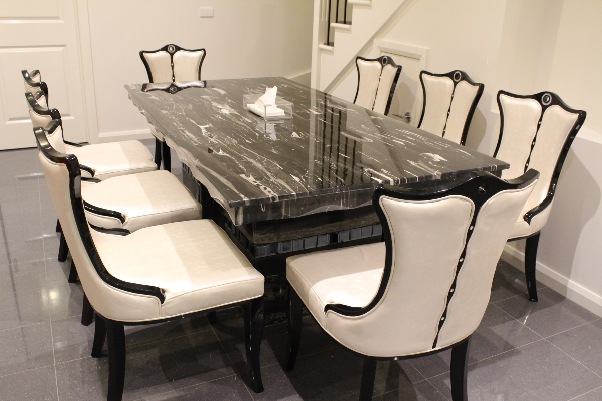 Dining Table 8 Chairs Arezzo Marble Dining Table With 8 Chairs