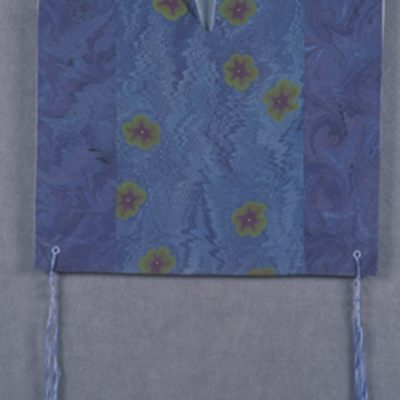 Shira Singer, Bar Harbor, Maine, Watercolor on silk, ritually tied knots, 24 x 41 x 1 in
