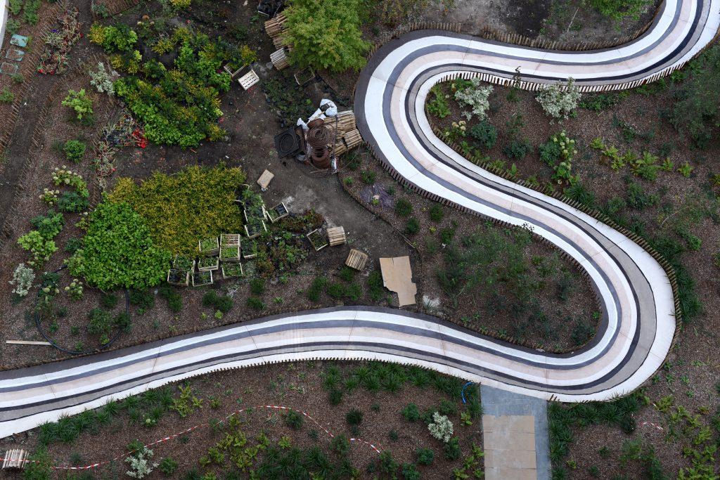MDICI Clichy Batignoles, vue aérienne du coulage de l'oeuvre