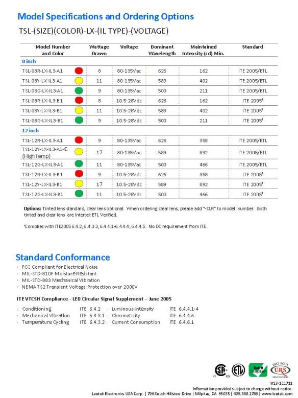 Leotek.IL3.Traffic.Signal.Spec.Sheet.V13-111711_Page_2