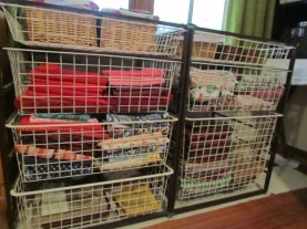 Baskets full of materials. Still to properly organise the very top ones.