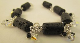 Lava stone & swarovski