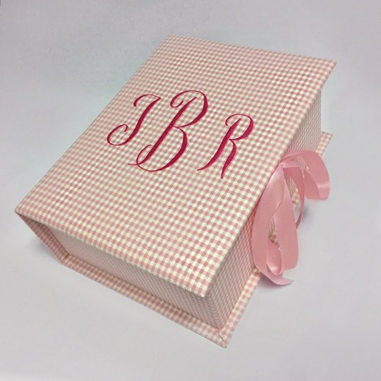 B14C-9-Pink-Gingham-Cotton-Geneva-Monogram-hot-pink-thread