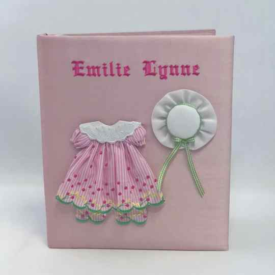 Baby-Memory-Book-KBRE-24G-Pink-Silk-Old-English-Font-Hot-Pink-Thread