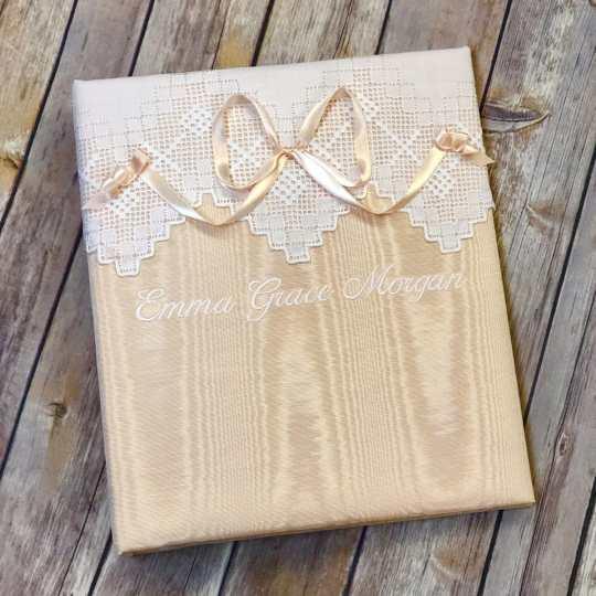 Baby-Memory-Book-KBRE-37B-Peach-Moire-Ballantines-Font-White-Thread